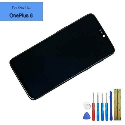 E-yiiviil Amoled scherm compatibel met OnePlus 6 A6000 / A6003 scherm touchscreen Mirror zwart met frame + tools