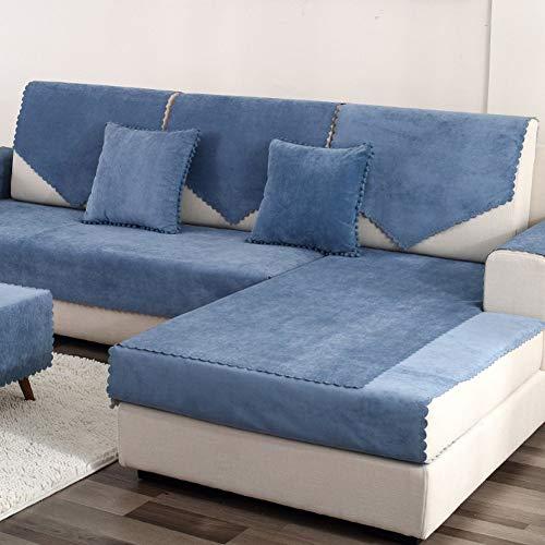 DHTOMC Funda Impermeable para sofá de Jacquard para Mascotas, Perro, Antimanchas, sofá seccional, Funda para sofá, Funda Antideslizante, Protector de sofá, Vendido por Pieza, Azul Marino, 90x240 cm