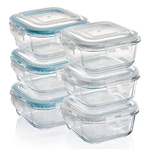 GRIZZLY Contenedores de Almacenamiento de Vidrio para Alimentos - 6 x 520 ml cuadrado