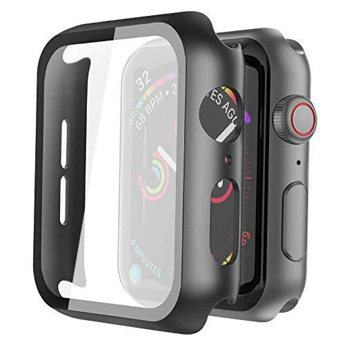 Misxi [2 Pezzi] Nero Cover Apple Watch Series 6 / SE/Serie 5 / Series 4 con Vetro Temperato 44mm, Custodia Rigida iWatch Protezione Totale Ultra Sottile HD Clear Pellicola Protettiva per Apple Watch
