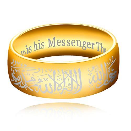 Uloveido Anillos musulmanes de Mohammad árabe Shahada color oro acero inoxidable 8mm banda ancha Religioso Allah Anillos para hombres y mujeres Y543 dorado