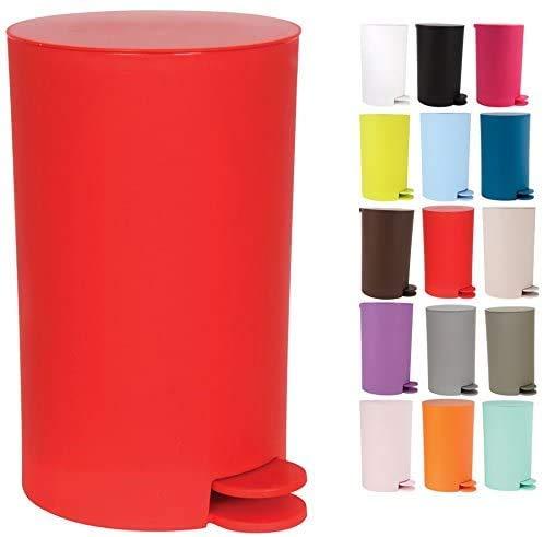 TIENDA EURASIA Cubo de Basura con Pedal 3L - Polipropileno - 14,5 x 15,5 x 27 cm (Rojo)