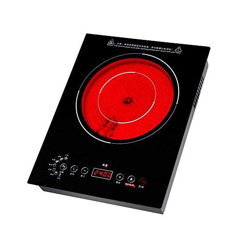 Bärbar induktionshäll, multifunktionssensor Touch Elektrisk keramisk matlagningsplatta Burne, Crystal Plate Surface, Kompatibel för alla köksredskap, Svart