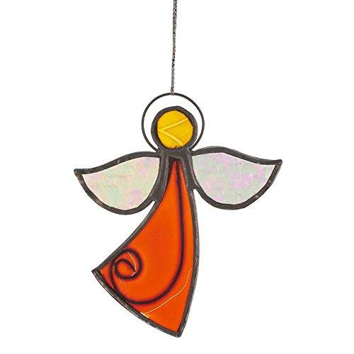 HAB & GUT -HA0G1- Windspiel Glas ORANGE, WEIß, GELB, Engel, 10 x 8,5 cm, Mobile für Fenster, Wand, Garten, Terrasse und Balkon