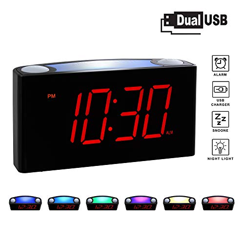 ROCAM Home LED Digital Alarm Clock - 6.5' Large Red Display, Loud Alarm, 7 Colored Night Light,...