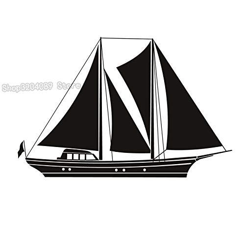 jiushivr Schwarz Vinyl Kunst Aufkleber Abnehmbare Reine Farbe Design Große Segelboot Kunst Wandbilder Wandaufkleber Dekoration Wohnzimmer 128x84cm