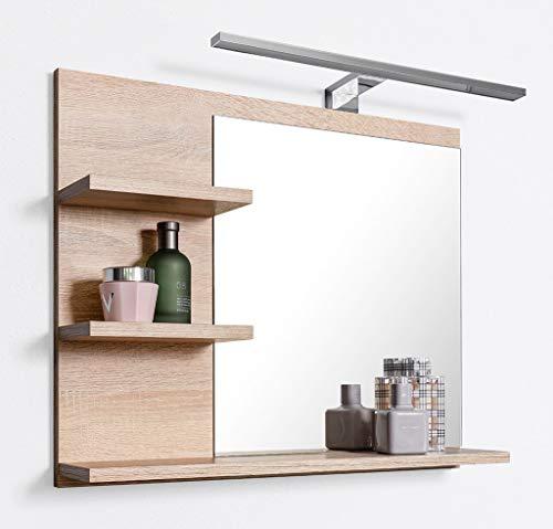 DOMTECH Badspiegel mit Ablagen und LED Beleuchtung Eiche Badezimmer Spiegel Wandspiegel, LED Wandlampe. L