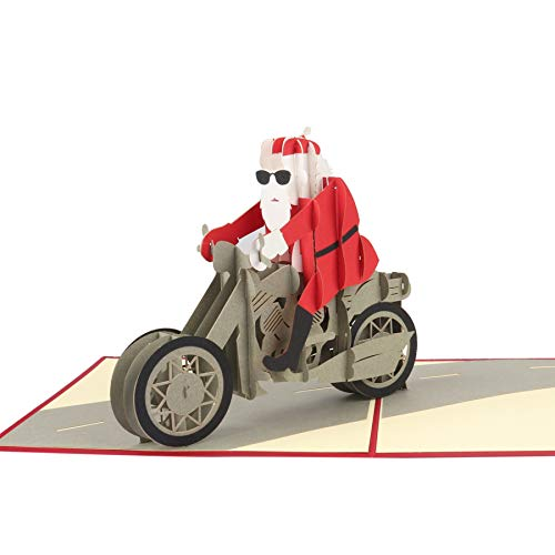 3D Pop Up Christmas Card,Handmade Xmas Greeting Cards with Envelope for Birthday Holiday Christmas Cards Gifts,Thank You Card(Santa Claus Motorcycle,1 Pcs)