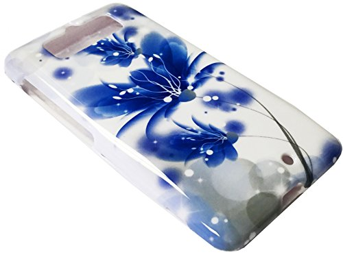 for Motorola Droid Mini XT1030 1030 Hard Snap on Protector Phone Cover Case + Happy Face Phone Dust Plug (Blue White Lotus)
