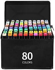 TC 80 kleuren graffiti-stiften, markeerstiften met dubbele punt om te kleuren en te illustreren, met bonus 1 kleurloze mixer met draagtas