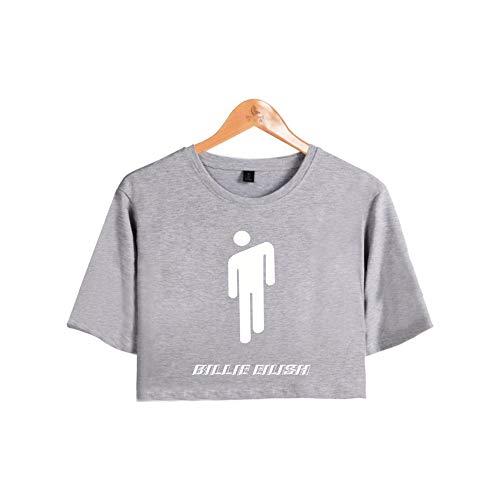 Camiseta Billie Eilish Niña, Camiseta Billie Eilish Mujer Camiseta Billie Eilish Corta Impresión Manga Corta T-Shirt Regalo Camisa Verano Niña Camisetas y Tops (Gris-C,S)