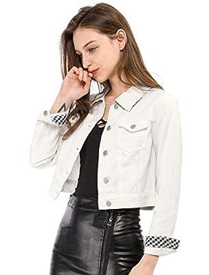 Allegra K Women's Button Down Long Sleeves Basic Casual Cropped Denim Jean Jacket XS White by Allegra K