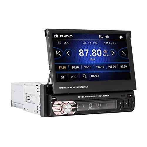 Fltaheroo Auto Retráctil 1 DIN 7 Pulgadas Radio de Coche HD Pantalla Táctil Reproductor de Mp3 Reproductor de Radio USB TF FM Reproductor Multimedia