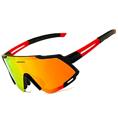 JOGVELO Sport Sunglasses Polarized for Men UV400 Protection con 3 Interchangeable Lens for Cycling Running Baseball Golf, Red