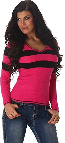 Jela London Slim-Fit Pullover Longsleeve dünn Langarm-Shirt Streifen V-Ausschnitt, Pink