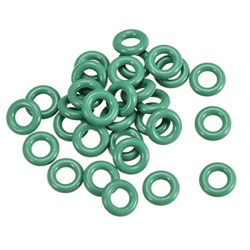 Juntas tóricas de goma fluorada YeVhear, 6 mm de diámetro exterior 3 mm ID 1,5 mm de ancho, junta de sellado FKM para fontanería de máquinas, color verde, paquete de 30