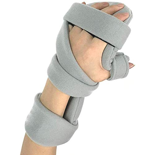 Yiyu Stroke ortesis - Funcional de Reposo for Mano férula diapasón de muñeca de la Mano Festivales Fractura de Dedo corsé Equipo de Entrenamiento de rehabilitación Inicio En Mejorar x (Color : Gray)