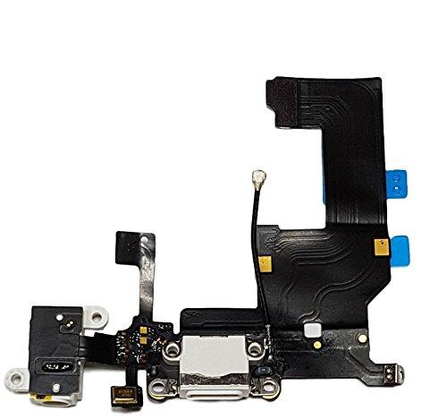 Smartex Conector de Carga de Repuesto Compatible con iPhone 5 5G Blanco – Dock de repeusto con Cable Flex, Altavoz, Antena, Micrófono y Conexión Botón de Inicio.