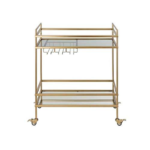 ZGQA-GQA Carrito de 2 pisos de hierro forjado para el hogar móvil de 2 pisos, color dorado, 82 x 72 x 36 cm