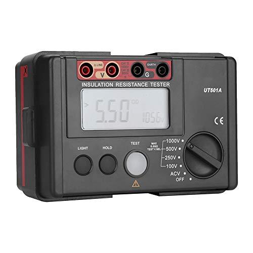 Probador de aislamiento digital, UT501A Multímetro de resistencia de tierra de aislamiento de 1000 V Probador de voltímetro multifunción con pantalla LCD grande