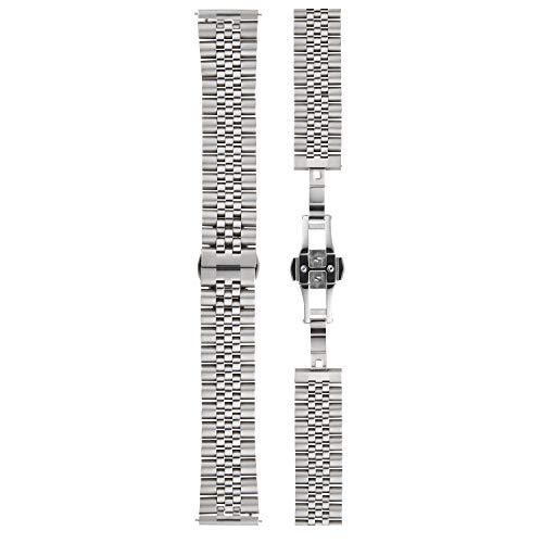 YVES CAMANI Uhrenarmband Milanaise Edelstahl-Armband 13mm 18mm 20mm mit Schnellwechsel Federsteg (20mm, Edelstahl - Silber)