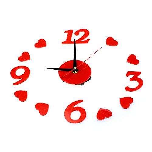 Dinglong Horloge,Bricolage Rouge Coeur Amour Mouvement à Quartz Design Unique décoration Murale Horloge