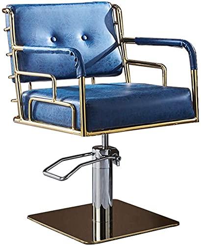 Tabouret de bar Chaise de coiffure pivotante Chaises de coiffeur hydraulique Heavy Duty 360 degrés Chaise de salon roulant pour cheveux Chaise de tatouage Chaise de tatouage Equipement de salon, bleu,
