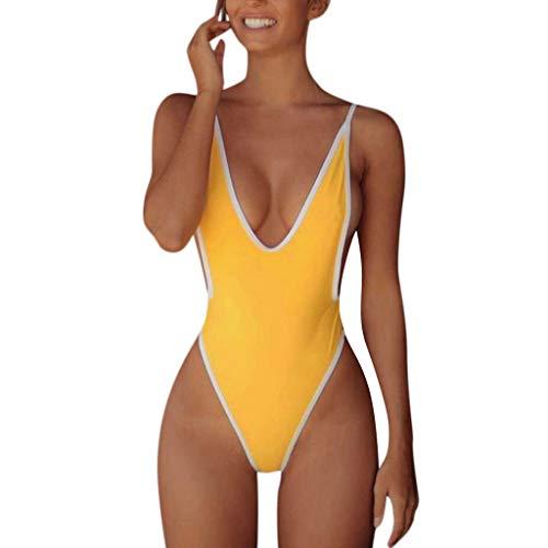 Mujer Traje de Baño de Una Pieza Bikini Push-up Sexy Cuello en v Sin Respaldo Ropa de Playa bañadores de Mujer Natacion Swimsuit Monokini Trikini Gusspower