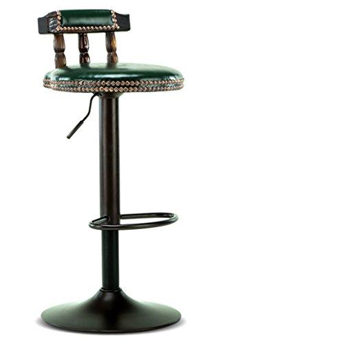 Ali@ Chaise de bar de style européen Chaise haute en bois massif Chaise haute Chaise haute à barres (Couleur : Vert foncé)