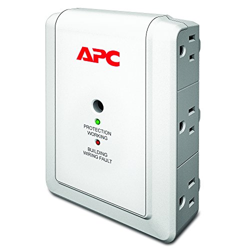 APC 6-Outlet Wall Surge Protector, 1080 Joules with Telephone Protection Ports, SurgeArrest Essential (P6WT)