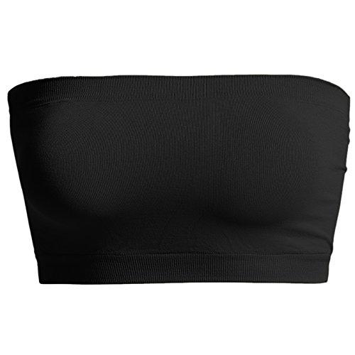 TheMogan Women's Seamless Bandeau Bra Top Stretch Tube Bralette Black One Size