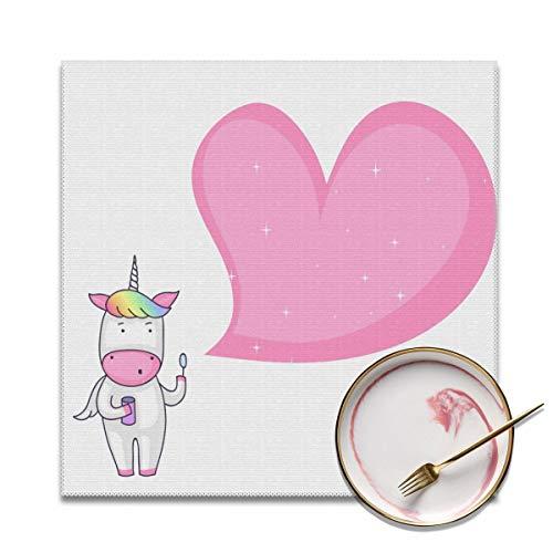 Houity Eenhoorn Blowing Zeep Bubble Roze Liefde Wasbaar Zacht Voor Keuken Diner Tafelmat, Gemakkelijk te reinigen Handige Opvouwbare Opslag Placemat 12x12 Inches Set Van 4