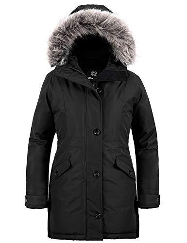 Wantdo Women's Puffy Military Winter Mountain Travel Parka Coat Jackets Black XL