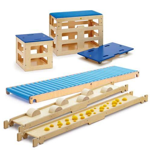 Erzi 46390 Balancierparcours Sportbox aus Holz, für Freizeit, Sport und Therapie