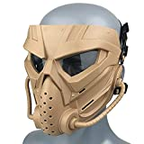 Wwman Airsoft Facial Táctica Máscara, CS Cosplay Halloween, Máscaras de Montar, Resistente al Desgaste, con Gafas Antivaho, para Adultos y Jóvenes