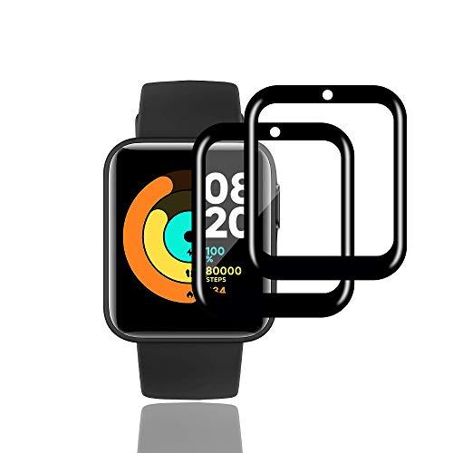 KONEE Pellicola Protettiva Compatibile con Xiaomi Mi Watch Lite, 【2 Pezzi】 [Copertura Totale, Alta Definizione] Copertura Completa Protezione Schermo per Xiaomi Mi Watch Lite