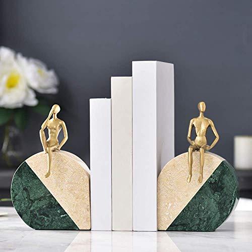 SEESEE.U Buchstützen Bücherständer Ordner Clip Marmor Metalldekoration Ornamente Kreative Einfachheit Kreativ für Schreibtisch Home Office Schulunterlagen Aufbewahrungsgeschenke