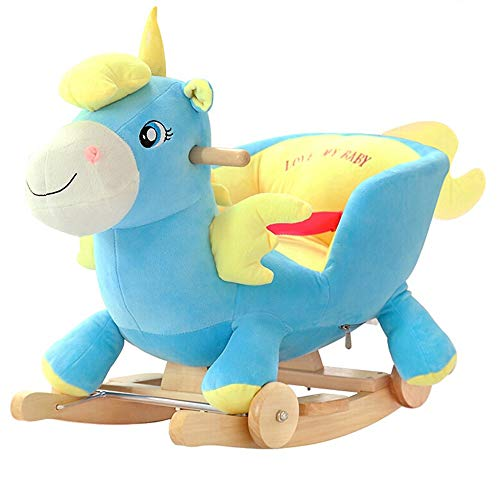 ZIXERN Rocking Horse Child Rocking Angel Horse Early Kids Ride On Rocking Horse For Child Birthday Blue Pink Girl/Boy Ride on Toy for 1-3 Year Old (Color : Pink, Size : 28X60X58CM)