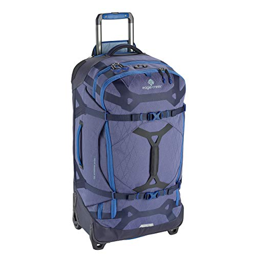 Eagle Creek Gear Warrior 65L Rolling Duffle Bag, Wheeled Trolley Bag, Split Roller Bag with Wheels, PET Ripstop Water-resistant Material, Extendable Handle, Arctic Blue, 39 x 66 x 28 cm