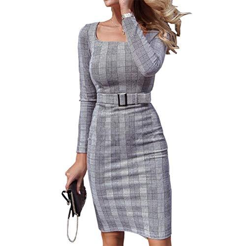 Riky vele soorten Vrouwen Lange Mouw Plaid Gedrukt Office Slanke Taille Knie-Lengte Elegante Jurken