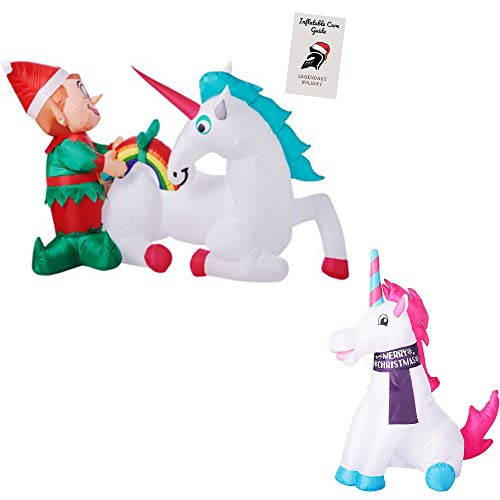 Christmas Unicorn Inflatable Bundle - Christmas Elf with Unicorn 7 ft and Magical Unicorn 3.5 ft with Care Guide