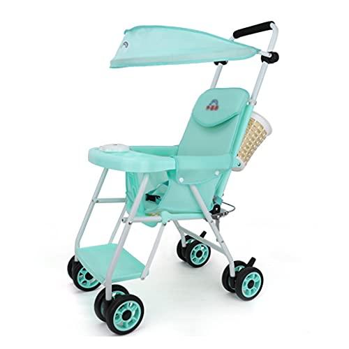 Yyqx sillas de Paseo Cochecito Plegable bambú ratán bebé cochecitos bebé ratán Silla niños luz Sentado bambú Tejido ratán bebé (Color : Dream Green, tamaño : B)