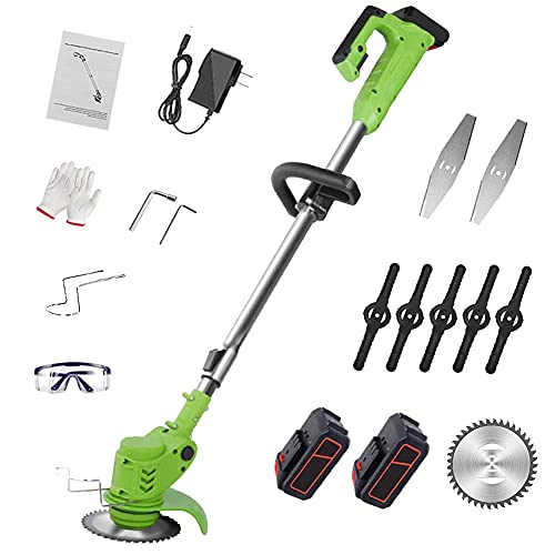 Grass and Hedge Trimmer - Electric Battery Powered Cordless, Hand Held Interchangeable Blades Garden Strimmers, Powerful Lawn Edger Tool, Length 90-122 Adjustable Lawn Mower, Telescopic Handle-Green