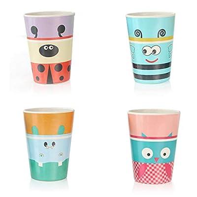 Bamboo Fiber Cups Set, 4Pcs Bamboo Fiber Toddler Cups Suit Cartoon Animal Cute Creative Cups Set Reusable Drinking Cups Dishwasher Drop-Resistant (4pcs-cups-B)