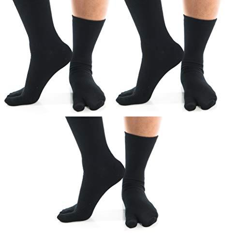 3 Pairs V-Toe Tabi Big Toe Flip Flop Socks Black Casual Everyday Wear Unisex