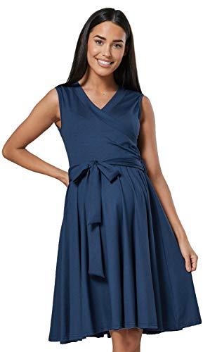 HAPPY MAMA. Damen Umstands Stillkleid Lagendesign V-Ausschnitt Empire-Taille. 078p (Blau Grau, 40, L)