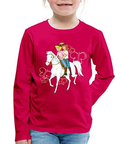 Bibi Und Tina Reiten Auf Stute Sabrina Kinder Premium Langarmshirt, 122/128 (6 Jahre), Dunkles Pink