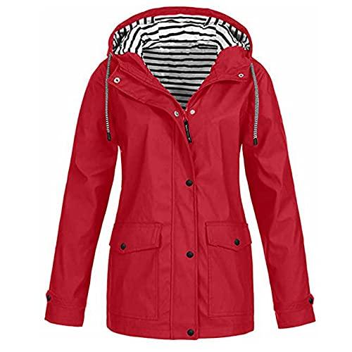 Hoimlm Chubasquero para mujer, chaqueta de lluvia con capucha, impermeable,...