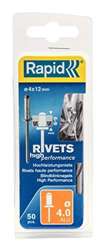 Rapid 5000384 Remaches, 0 W, Plateado, 4x12mm