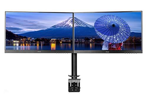 iiyama DS1002C-B1 Dual-Monitor Halterung-/ Tischklemme (für Displays bis 30 Zoll und maximal 10kg / Monitor) schwarz